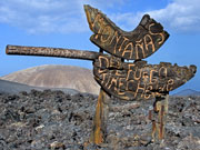 Montanas del Fuego sign, Lanzarote. Photo by Lanzarote Tourist Board