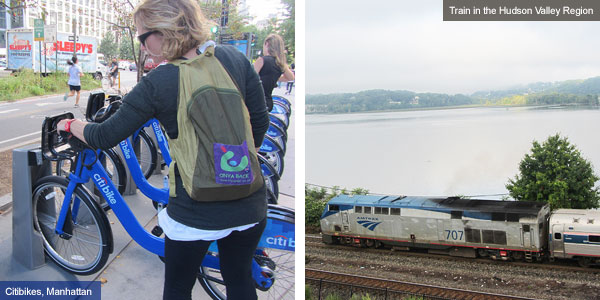 Citibikes in Manahttan and train running through the Hudson Valley Region, New York State. Photos by Catherine Mack
