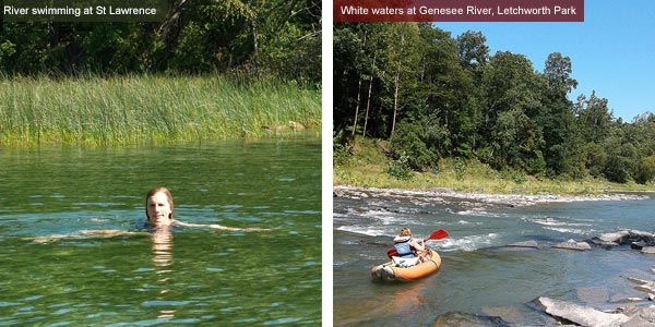 Swimming at St Lawrence and white water in Genesee River, New York State. Photos by Catherine Mack