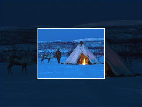 Sami people winter holiday in Norway with ice hotel