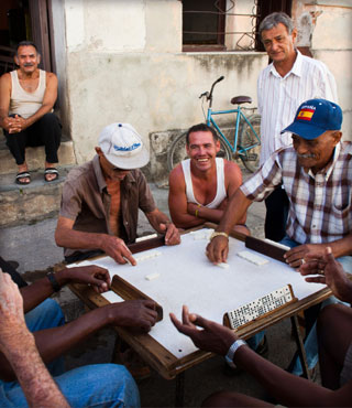 Locals playing dominos, Cuba