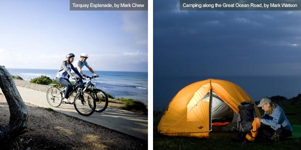 Cycling and camping, Victoria. Photos by Victoria Tourist Board