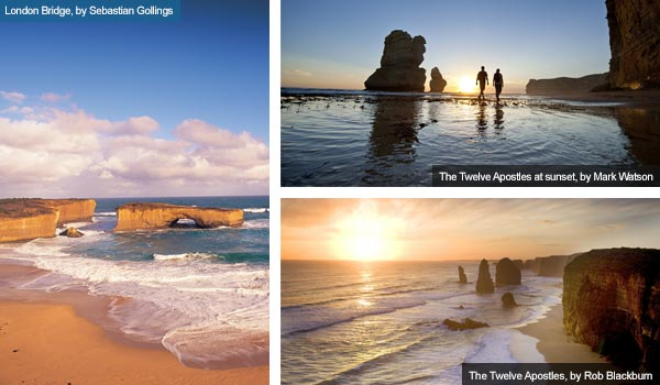 London Bridge and the Twelve Apostles, Victoria. Photos from Victoria Tourist Board